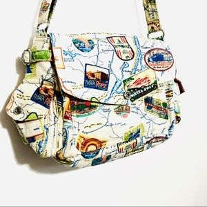 Fossil St Moritz Canvas Traveler Map Shoulder Bag